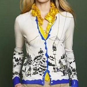 J CREW Ski Lift print cardigan sweater